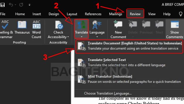 Translate dokumen PDF di Microsoft Word