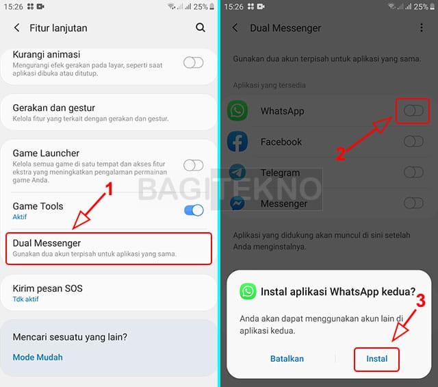 Kloning aplikasi WhatsApp tanpa aplikasi tambahan