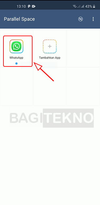 Membuka aplikasi WhatsApp kedua