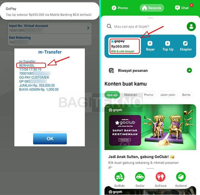 Saldo GoPay sudah berhasil diisi lewat BCA Mobile