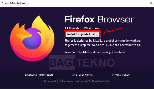 Mengupdate browser Firefox di Komputer
