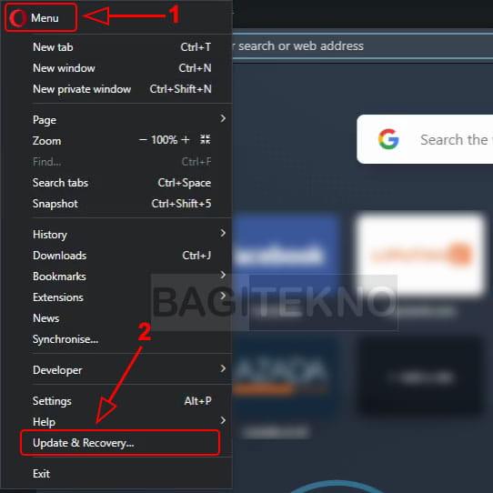 Cara memperbaharui browser web Opera