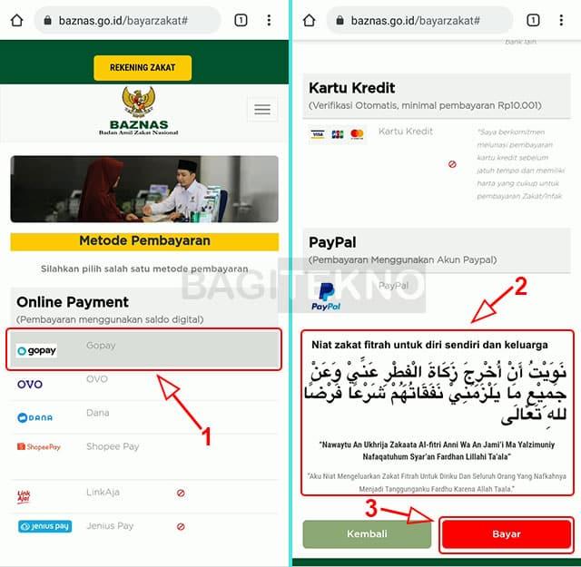cara membayar zakat fitrah secara online langsung ke BAZNAS