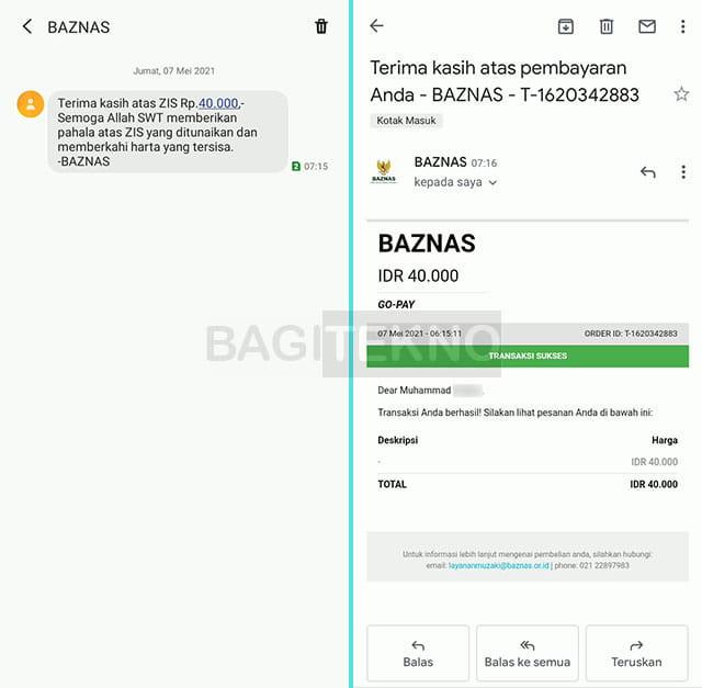 bukti pembayaran zakat fitrah ke BAZNAS