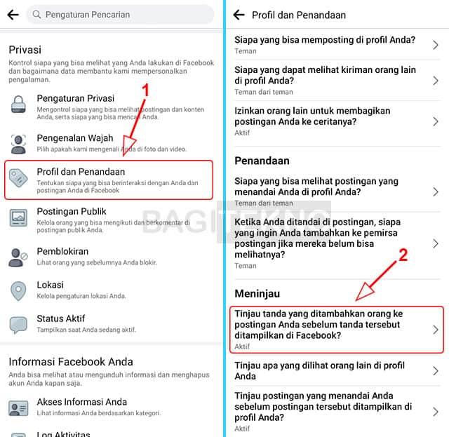 mengaktifkan fitur untuk meninjau postingan yang menandai anda di facebook android