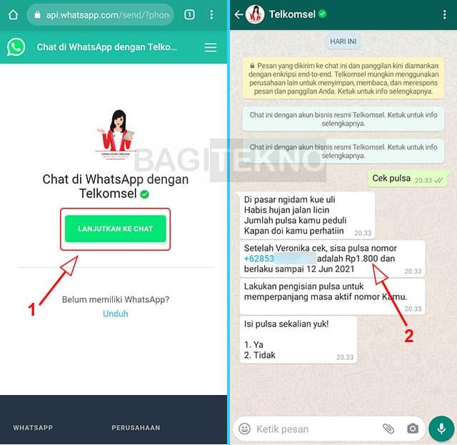 cara mengecek sisa pulsa kartu as lewat chat WhatsApp