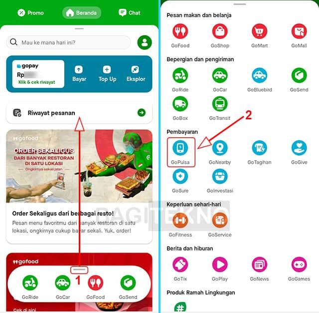 cara mengisi pulsa kartu as telkomsel pake aplikasi gojek