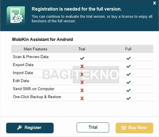 perbedaan fitur MobiKin Assistant for Android free dan full