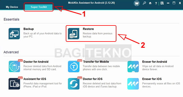 Restore data Android dengan MobiKin Assistant for Android
