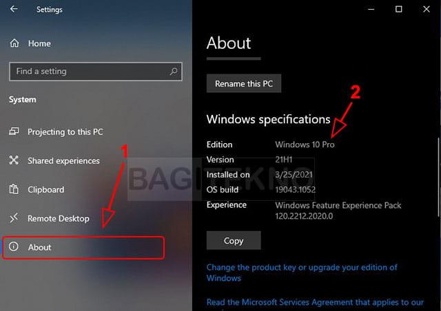 cek jenis Windows 10 anda via Settings