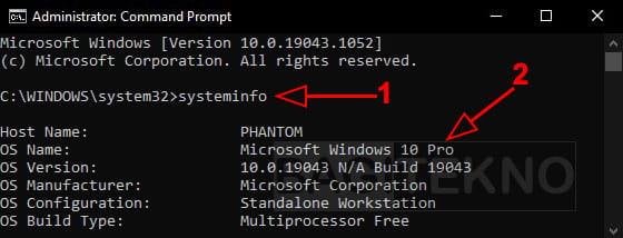 Periksa jenis Windows 10 lewat CMD