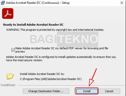 Menginstall software Adobe Acrobat Reader