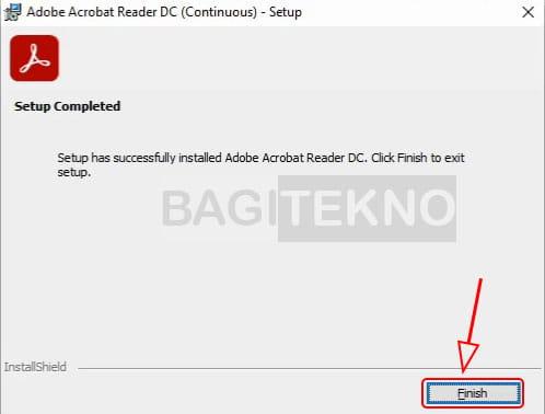 Adobe Reader sudah selesai terinstall
