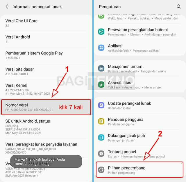Menampilkan opsi developer options di pengaturan Android