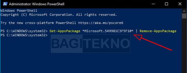 cara uninstall Cortana secara permanen di Windows menggunakan poweShell