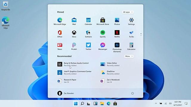 Tampilan baru Start Menu di Windows 11