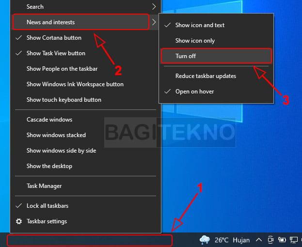 Cara menyembunyikan atau menghilangkan widget info cuaca di taskbar Windows 10