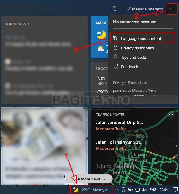 mengatur berita widget Windows 10
