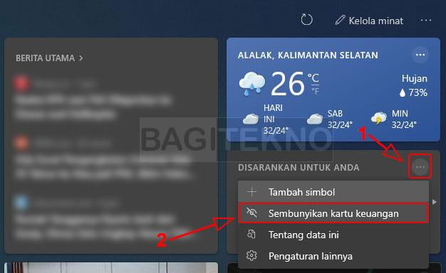 sembunyikan kartu informasi widget info cuaca di taskbar windows 10
