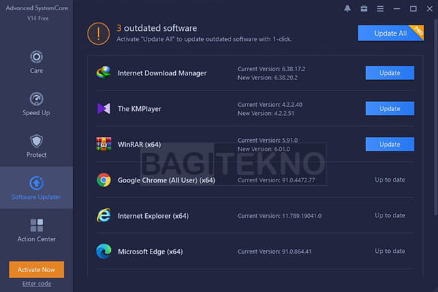 Fitur Software Update Advanced SystemCare Free