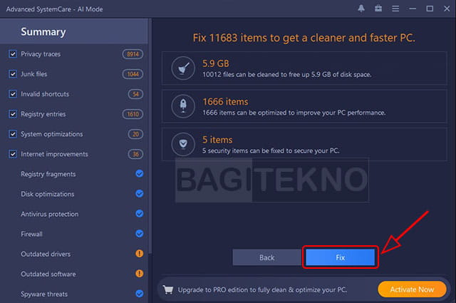 Memperbaiki masalah Laptop di Advanced SystemCare Free