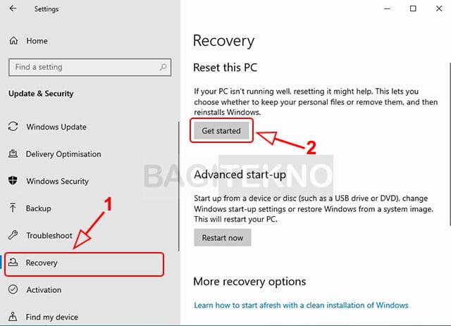 cara mereset Laptop Windows 10 dengan mudah