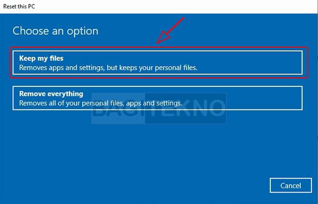cara reset Komputer Windows 10 tanpa menghapus data pribadi