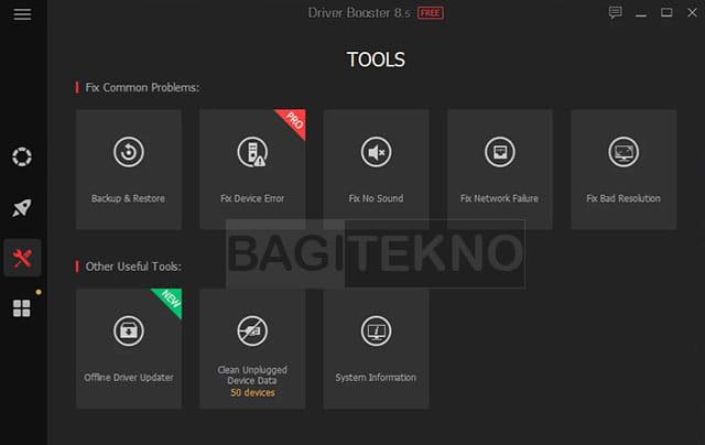 daftar tools yang ada pada aplikasi driver booster