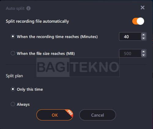 fitur auto split EaseUS RecExperts screen recorder