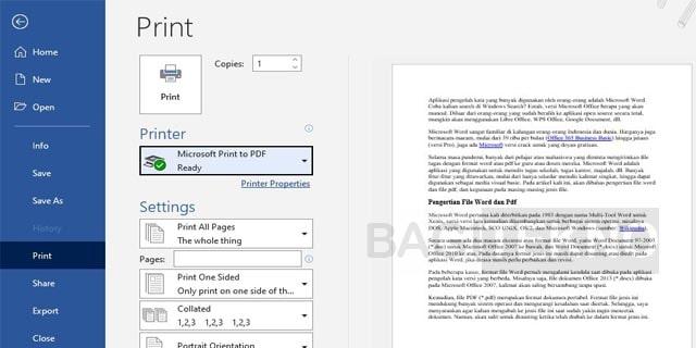 Printer to PDF