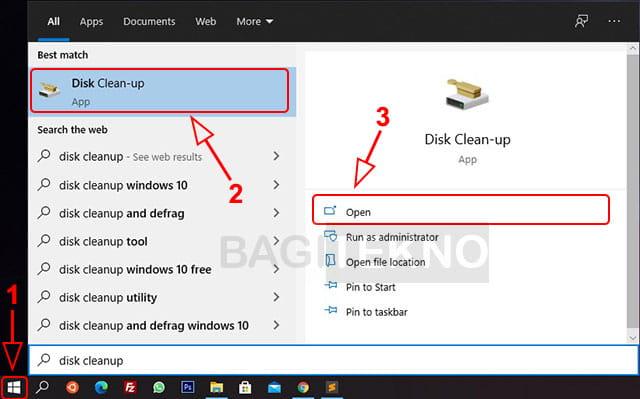 membuka disk cleanup di Windows