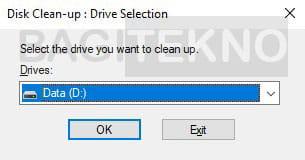 membersihkan file sampah partisi D