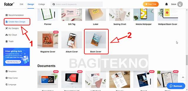 cara membuat cover buku yang menarik secara online di Fotor