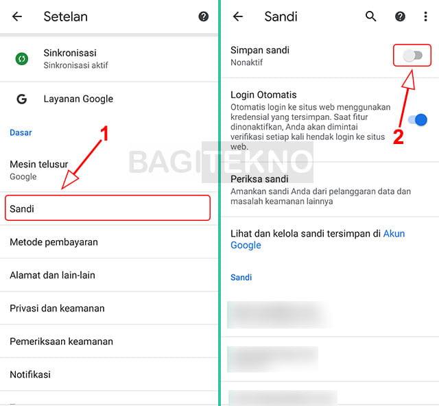 Cara mematikan permintaan saimpan password di Google Chrome Android