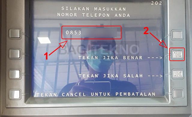 Masukkan nomor Hp Link Aja di mesin ATM BNI