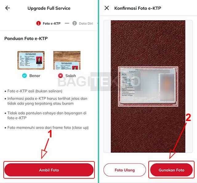 Ambil foto KTP saat upgrade akun Link Aja ke Full Service